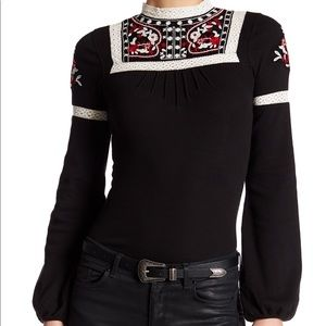 NWT Free People Cozy On Black Embroidered Top